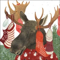 Holiday Moose with Stocking on Antlers Gift Card