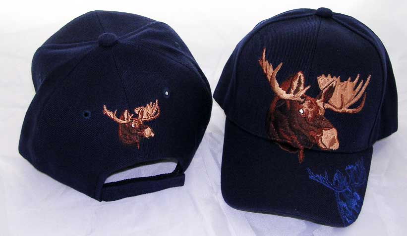 Baseball Hat - Blue Hat with Blue Moose