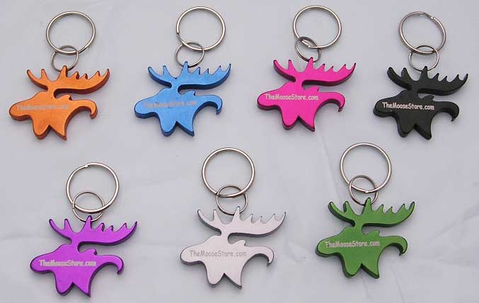 Moose Head Key Chain Bottle Opener - Silver