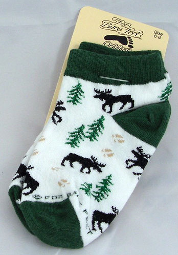 Child Moose Print Ankle Socks